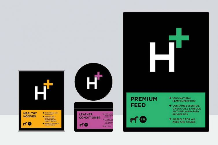 H+ hemp-based animal feed brand